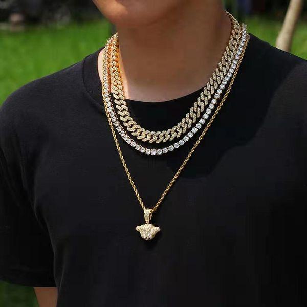 Helado 666 collares pendientes de mano para hombres diseñador de lujo para hombre bling diamante buena suerte colgantes joyería de oro collar de cadena de eslabones cubanos