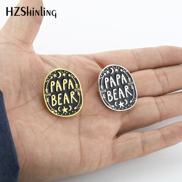 2019 New Mama Bear Enamel Pin Papa Bear Brooch Silver Gold Pins Clothing Accessories Love Gifts For Mother Father EN008