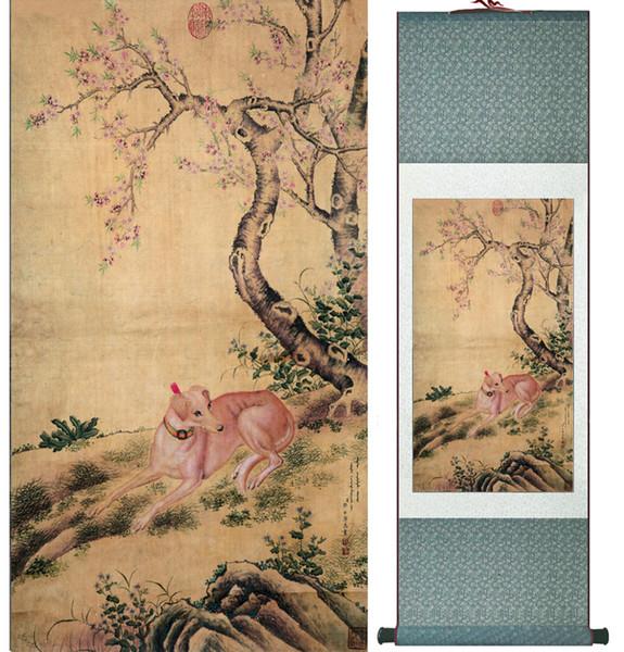 Hund Seide Kunst Malerei chinesische Kunst Malerei Home Office Dekoration chinesische Hund Malerei 1906151637