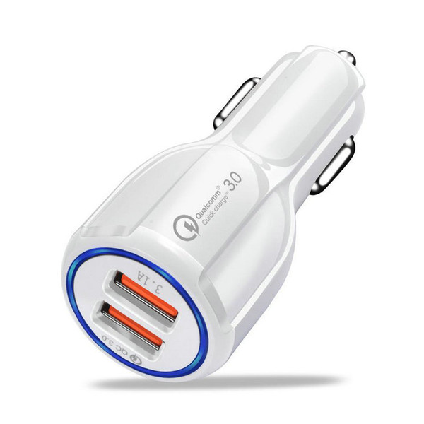 best selling Car Charger 5V 3.1A Quick Charge Dual USB Fast Charging Top Quality QC 3.0 For Samsung S10 S9 S8 S7 NOTE 9 NOTE 8 With OPP bag