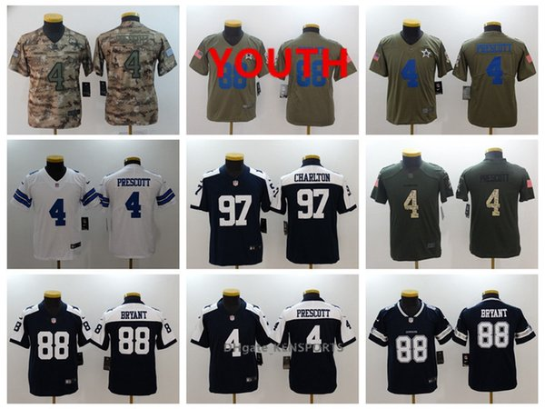 huge selection of d6700 9f077 2019 Youth Dallas Football Cowboys Jersey 4 Dak Prescott 88 Bryant 97 Taco  Charlton 94 Ware Color Rush All Stitching Jerseys From Superjerseys001, ...