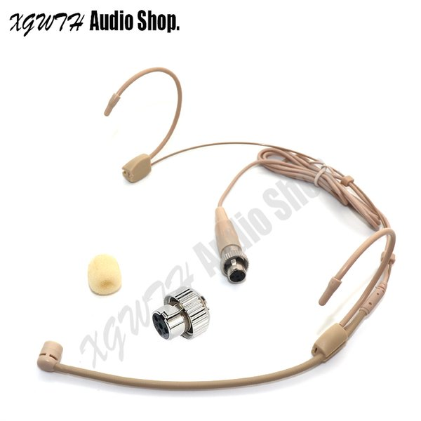 Dual Hook Head Headset Head-mounted Headworn Unidirectional Cardioid Microphone Radio Mic Connector Mini XLR 4PIN Lock For Mipro