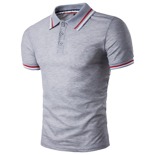 Novos homens de verão preto branco camisa casual moda slim fit camisa de manga curta camisa cinza homens m-XXL