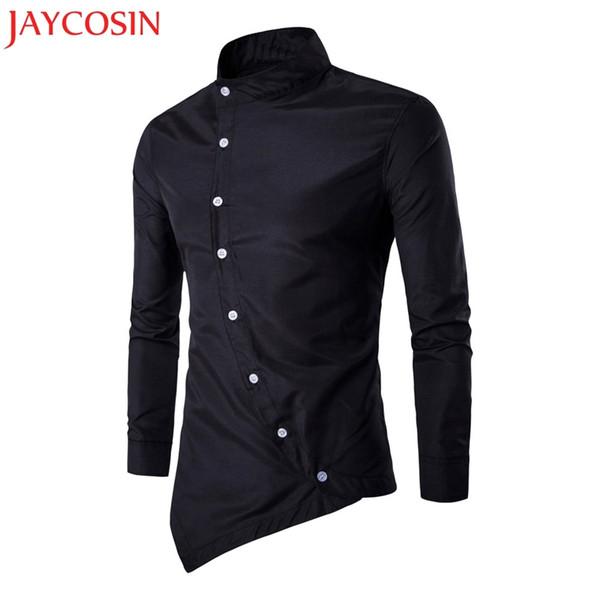 JAYCOSIN 2018 New Mens Casual Irregular Slim Fit Long Sleeve Stylish Party Dress Shirt Dropshipping July 3 #435067