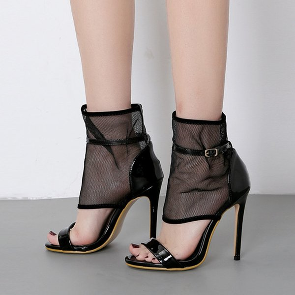 New black meshy open toe pumps high heel ankle bootie women designer shoes size 35 to 40
