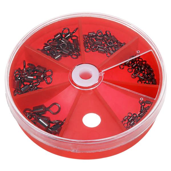 75 stücke Kugellager Angeln Swivel / Solid Ring Messing / Nickel Sea Fishing Swivels Stecker Größe 1 # 4 # 6 # 8 # 10 # 12 # mit gerät Aufbewahrungsbox