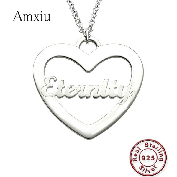 Amxiu Personalized Name Necklace Customize 925 Sterling Silver Necklace Heart Choker For Women Girls Daily Accessories