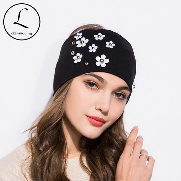 GZHILOVINGL 2019 New Spring Summer Fashion Women Headbands Flowers Pearl Wide Soft Cotton Girls Womens Hairband Hair Accessories