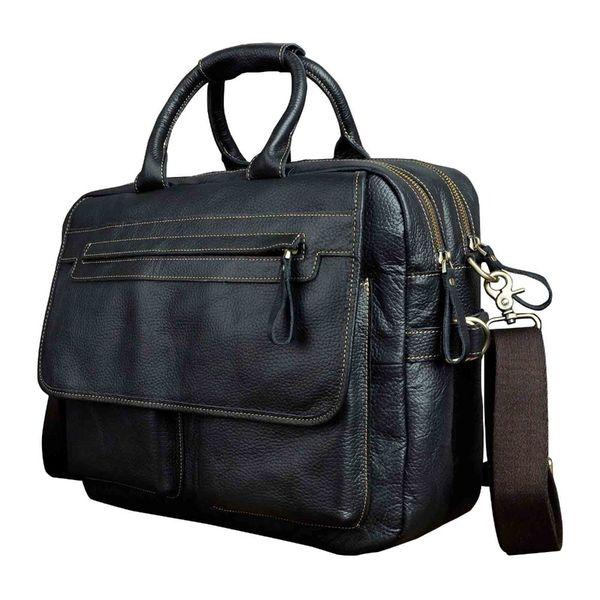 "Men Quality Leather Large Business Briefcase Handbag 15.6"" Laptop Case Attache Portfolio Bag One Shoulder Messenger Bag 2951b #563825"