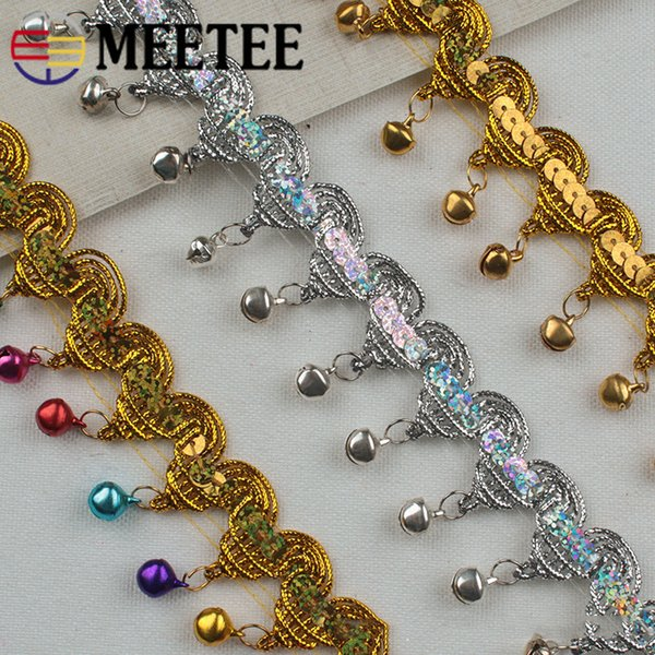 Meetee 3cm Wide Tassel Lace Braid Trim Gold Webbing Hanging Bell Material DIY Stage Perform Clothes Cosplay Accessories RC206