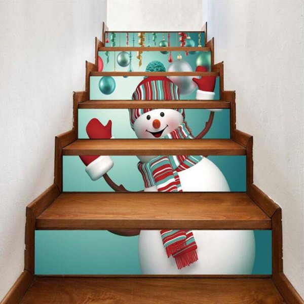 3D Pattern Staircase Sticker DIY Wall Painting Xmas Mural Kids Room Decor Wall Sticker PVC Waterproof Stair Stickers