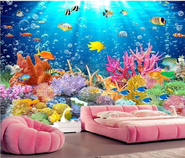 wallpaper for painting 3D underwater world dolphin TV background wall decoration painting