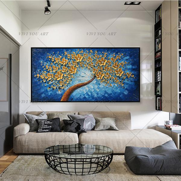 Виви текстурированные мастихином картины маслом на холсте Ручная роспись Современные абстрактные 3D Золотые цветы Стена Декоративные картинки Арт