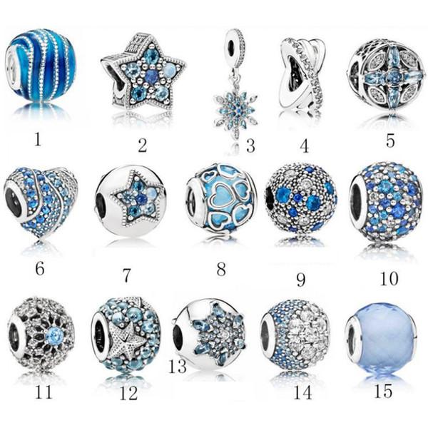 S925 Ювелирные изделия из стерлингового серебра Diy Big Beads Подходит для pandora Ale Charm For Pandora Браслеты для женщин Для европейского голубого цвета Браслет-браслет