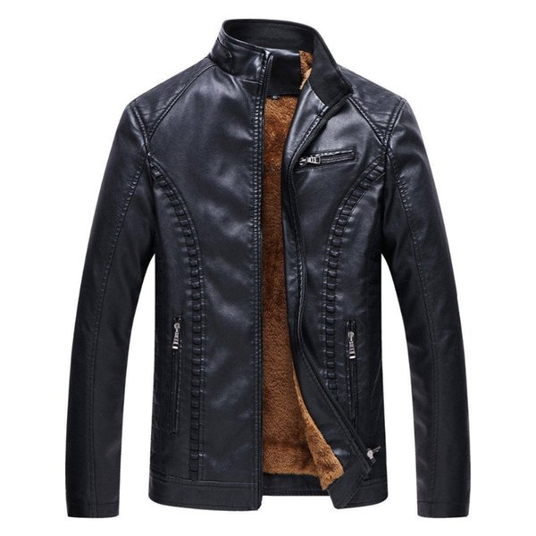 2019 Fashion  Men's Fleece Solid Color Leather Jacket Coat New Winter Men Motorcycle Keep Warm Leather Jackets
