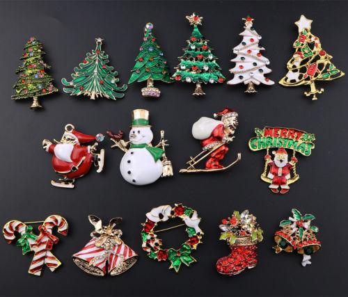 Noel Rhinestone Kristal Emaye Broş Pin Düğün Takı Hediyelik Noel Partisi DIY Süsleri