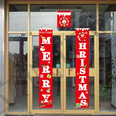 top popular New Merry Christmas Door Hanging Decoration Christmas Curtains Shopping Mall Home Banner Christmas Curtain Atmosphere Decoration 2019