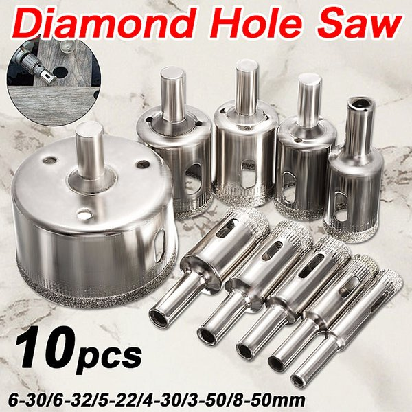 10PCS/set 8-50mm Diamond Coated Core Hole Saw Drill Bits Tool Cutter For Tiles Marble Glass Granite Drilling