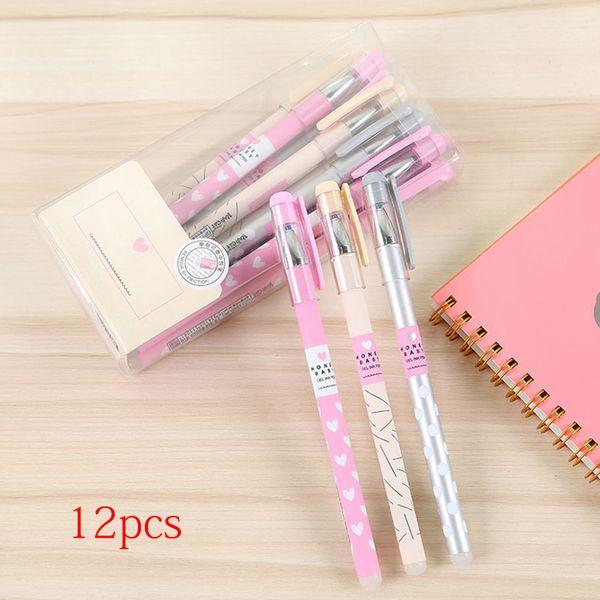 12 Pcs /set Stationery Smooth Office Supplies Blue Refill Plastic Gel Pen Multipurpose Fresh Writing Tools Erasable 0.5mm Tip