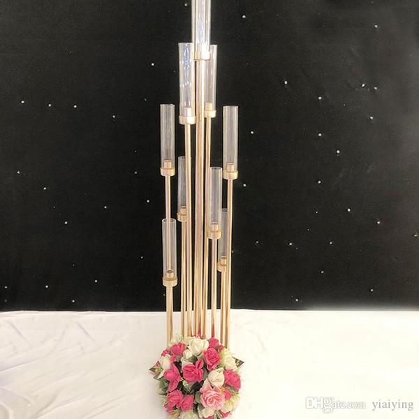top popular Wedding Decoration iron and glass hotel table center pieces display wedding sign area road lead 10 Heads 2021