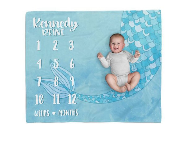 Infant Baby Milestone Blanket Photo Photography Prop Blankets unicorn Backdrop Cloth Calendar Bebe Boy Girl Photo Accessories 75x100cm