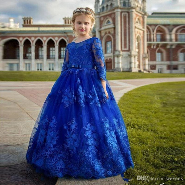 Royal Blue Ball Gown Flower Girls Dresses with 3/4 Sleeve Lace Appliques O Neck Floor Length Girls Prom Gowns For Wedding Party