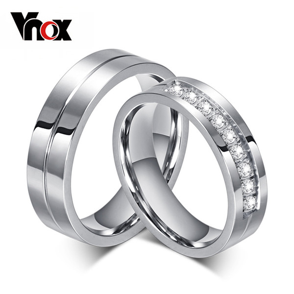 Vnox CZ Wedding Band Engagement Rings for Couples Women Men 316l Stainless Steel High Quality Lovers Jewelry Anniversary Gift
