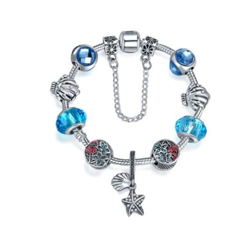 925 Sterling Silver Murano Lampwork Glass & Blue Crystal European Charm Beads flamingo Starfish Pendant F Pandora Charms bracelets Bracelets