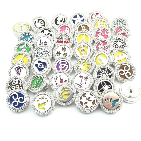 Noosa Chunks Aromaterapia Difusor de Óleo Essencial Perfume Medalhão Botão Snap DIY Mulheres 18mm Snap Button Pulseira Colar de Jóias 20 cores