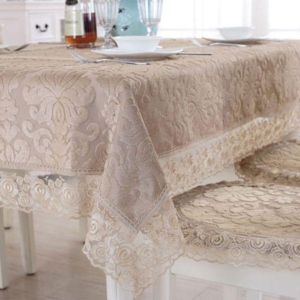 Europa di lusso tovaglia ricamata tovaglia tavolo da pranzo copertura panno di pizzo caffè cuscino cuscino