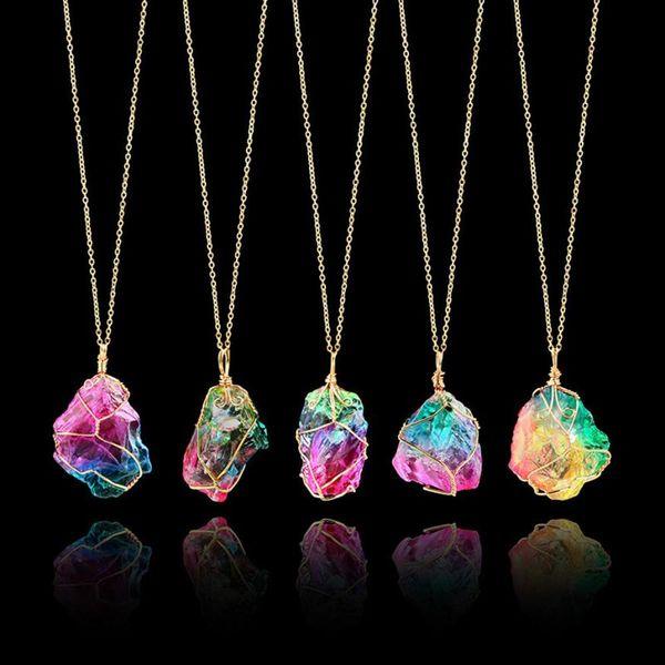 Attraktiver Regenbogen Stein Naturstein Halskette Gold Quarz Anhänger Drehmoment Kristall Halskette Glänzende Ornamente Halsreif Schmuckstück Aneis