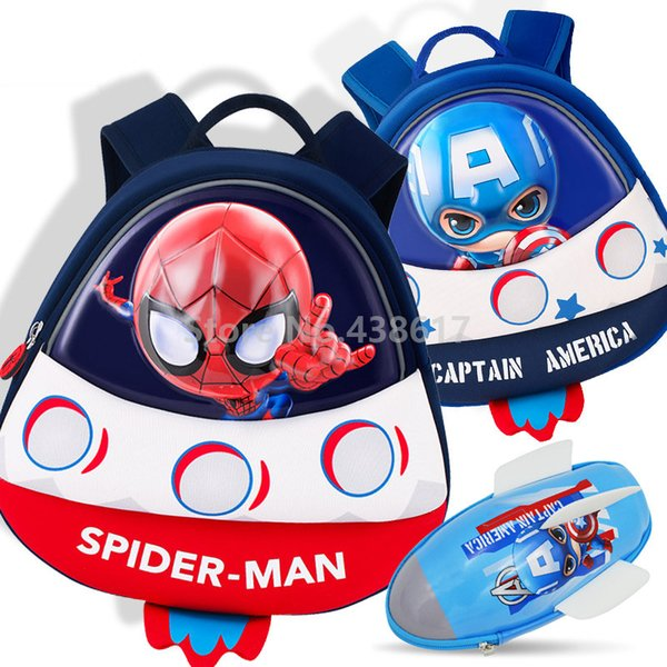 3D Rocket Spider Man Backpack School Bags Aircraft Pencil Case For Boys Kids Children Kindergarten School Bag