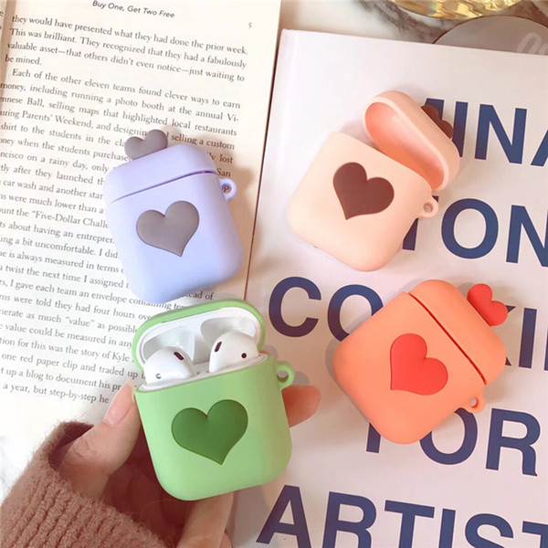 Love Heart Cases For AirPods Bluetooth Wireless Earphone Case Fashion Korean Silicone Accessaries For Apple Airpods Headset Bags