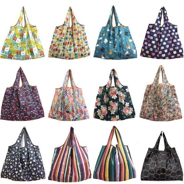 Bolso de compras no tejido Bolsa de asas reutilizable Bolsa de almacenamiento de comestibles Eco compradores 1PC