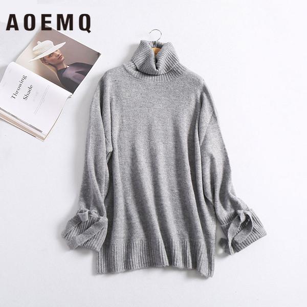 Aoemq зимний свитер сплошной полосатый повседневная домашняя одежда держите теплый свитер толстый ручной работы с лентой для женской одежды
