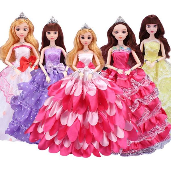 1 Unids Muñeca Con Vestido de Boda Princesa Noble Vestido de Fiesta Muñeca Traje de Diseño de Moda El mejor regalo para niña, está incluido