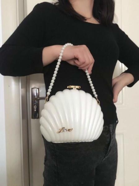 2019 HOT Fashion Handtasche Frauen Geldbörse Perle Shell Umhängetasche Tasche Weihnachtsgeschenk Perle Armband Tasche Brieftasche