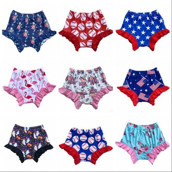 Baby Girl Bloomer Shorts 4th of July Boxers Toddle Softball Falbala PP Pants Ruffle Flamingo Diaper Covers Leopard Floral Underpants A5472