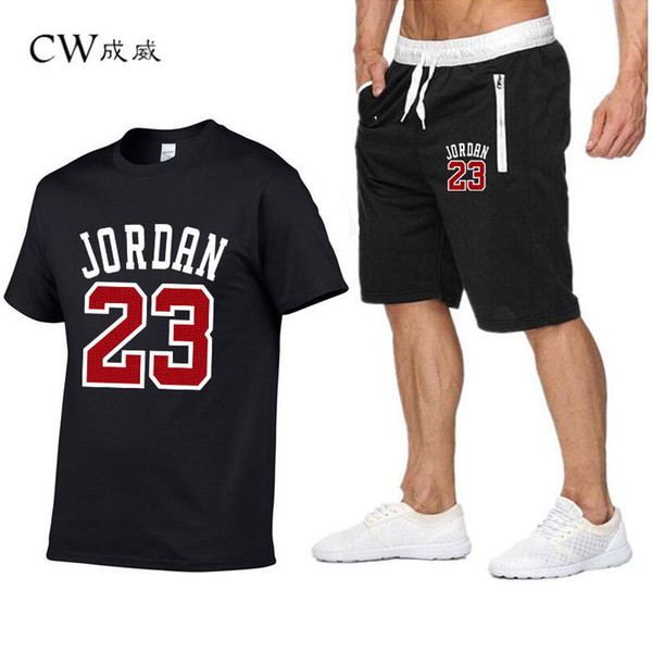 CW 23 Print Tracksuit T Shirt+Shorts fashion Trends In 2019 Fitness Cotton Brand tshirts for Men Bodybuilding clothing M-XXL