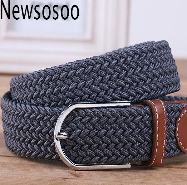 2018 Men's Casual Belts Elastic luxury stripes gentleman mens Canvas belt jeans belt for men extended belt grey black blue khaki