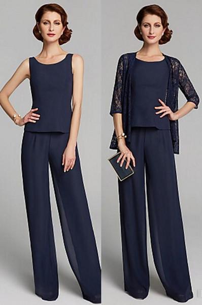 Custom Made Yaz İki Adet Anne Gelin Elbiseler Artı Boyutu Jewel Boyun Kat Uzunluk Şifon Dantel Pantolon Parti Törenlerinde Suits