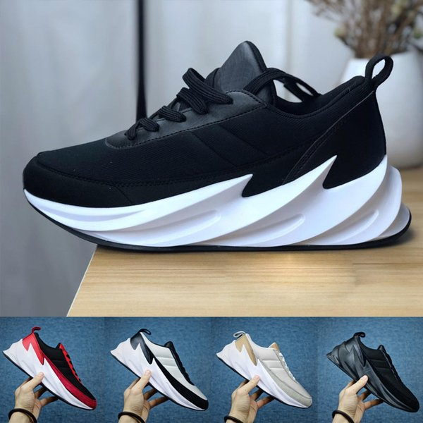 2019 Mens Sharks Concept Running Shoes Tubular Shadow Knit Trainer Sports Shoes Black White Red Bred Sports Outdoor Sneakers 40 45 Running Trainers