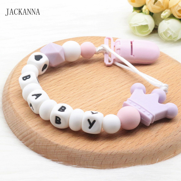 Personalise Name Baby Pacifier Clips Funny Soother Clip Newborn Attache Sucette BPA Free Eco-friendly Baby Pacifier Holder Chain