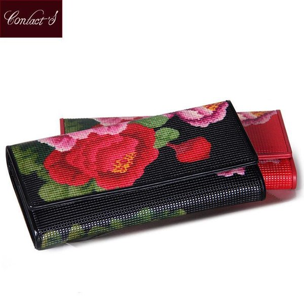 Contacts Nice NEW Womens Wallet Genuine Leather Floral Print Long Lady Purses Fashion Black Red Clutch Wallets Card Holder