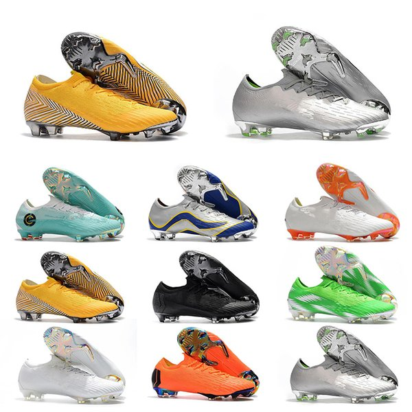 2019 Mens Leather CR Soccer Shoes 7 Cleats World Cup Football Boots Black White Orange Silver Futbol Size 39-46