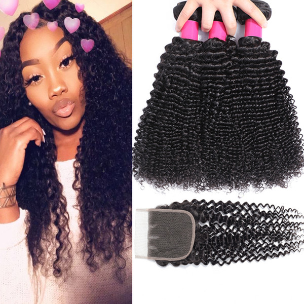 top popular 9A Brazilian Curly Virgin Hair 3 Bundles With Lace Closure Free Or Middle Part Brazilian Kinky Curly Virgin Hair Brazilian Curly Human Hair 2021