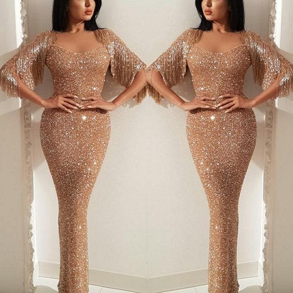2019 oro Prom Dresses Paillettes Mermaid Sweetheart nappa Sparkly formale Evening Gown Pagenat Abiti su ordine Plus Size