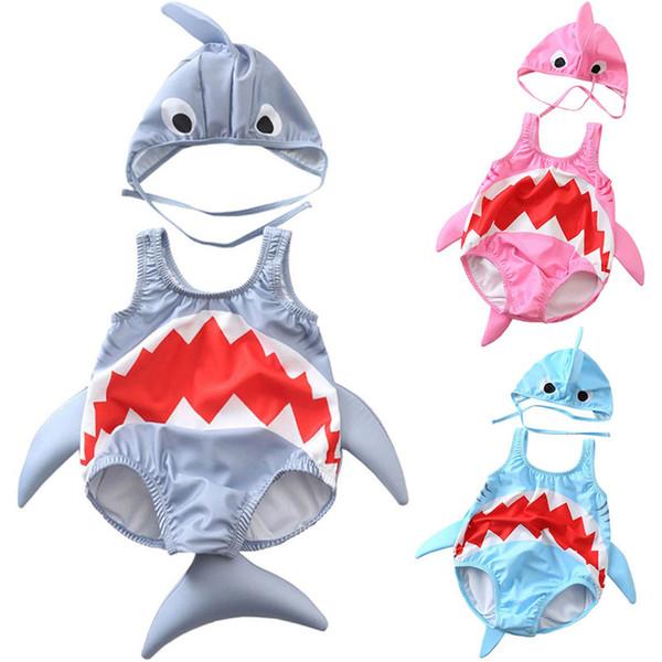 Summer Toddler Infant Baby Girls Shark Bikini Cartoon Swimsuit One Piece Swimwear Bathing Suit baby kids Bathing Beachwear Pink Grey Blue