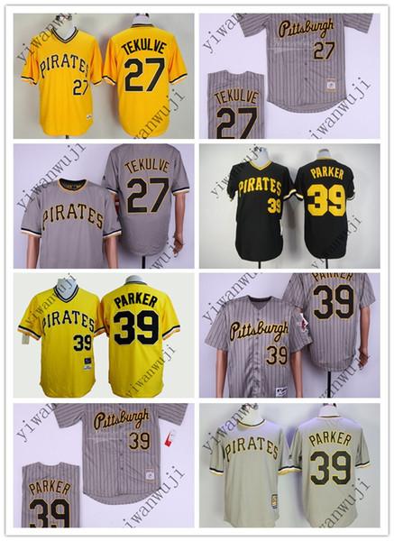 Ucuz Korsanlar 27 # Tekulve / 39 # Parker Siyah Gri Sarı Beyzbol gerileme Formalar Gömlek Dikişli En Kaliteli!