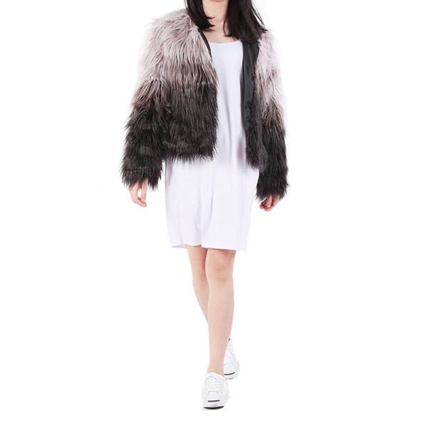 Kadınlar Uzun Saç Giyim Kısa Ceketler Faux Kürk Palto Degrade Kürk Ceket Sahte Giyim Kış Palto Ceket